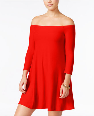 Planet Gold Juniors' Off-The-Shoulder Swing Dress $39 thestylecure.com