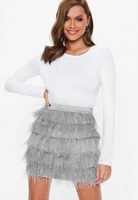 Missguided Gray Ostrich Feather Mini Skirt