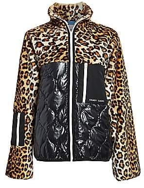 Sandy Liang Women's Dean Faux-Fur Mixed Leopard Print Fleece
