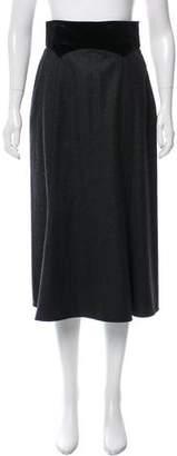 Valentino Velvet-Trimmed Midi Skirt