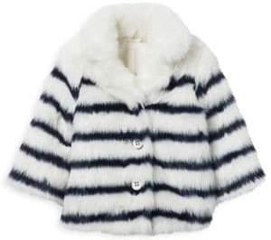 Janie and Jack Little Girl's& Girl's Juno Valentine x Faux Fur Stripe Jacket