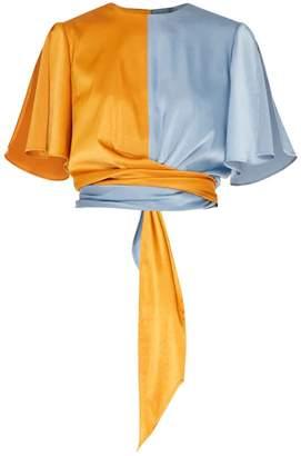 Paisie Two-Tone Satin Wrap Top With Tie Waist & Split Sleeves In Metallic Blue & Rustic Orange