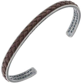 Marco Dal Maso Men's Braided Leather/Silver Kick Cuff Bracelet, Brown