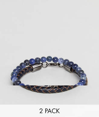 Simon Carter Sodalite Beaded Bracelet With Skull Charm & Navy Leather Bracelet In 2 Pack