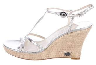 MICHAEL Michael Kors Leather Round-Toe Wedges