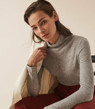 Reiss AMBERLY WOOL CASHMERE BLEND ROLLNECK TOP Grey Marl