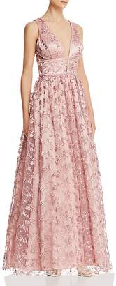 Avery G Floral Embroidered Tulle Gown