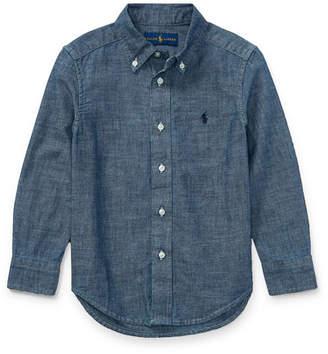 Ralph Lauren Chambray Long-Sleeve Shirt, Blue, Size 5-7