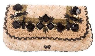 Anya Hindmarch Straw Flap Clutch
