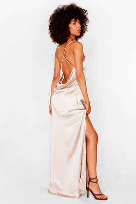Nasty Gal Womens Until Death Do Us Party Scoop Satin Bridal Dress - Tan - 8