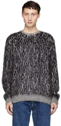 Needles Grey and Purple Mohair Leopard Sweater