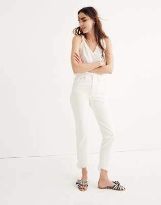 Madewell The Perfect Summer Jean in Tile White: Destructed-Hem Edition