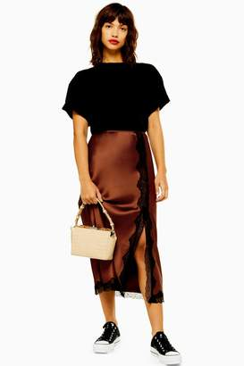 aec7b3a233aa Topshop Womens Lace Trim Satin Bias Midi Skirt - Chocolate