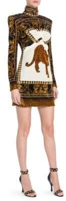 Versace Long-Sleeve Ruche Printed Mini Shift Dress