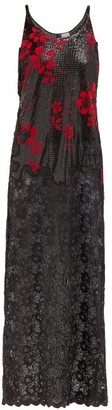 Paco Rabanne Floral Chainmail Dress - Womens - Black Red