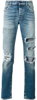 Saint Laurent distressed high-waist jeans