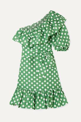 7008c41a9f8 Lisa Marie Fernandez Arden Ruffled One-shoulder Polka-dot Linen Mini Dress  - Green