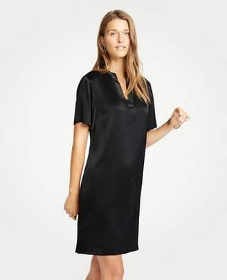Ann Taylor Shimmer Stitched Split Neck Shift Dress