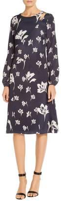 St. John Falling Flower Print Dress