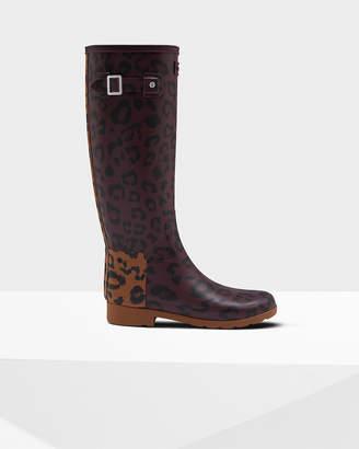 Hunter Women's Leopard Print Refined Slim Fit Tall Rain Boots