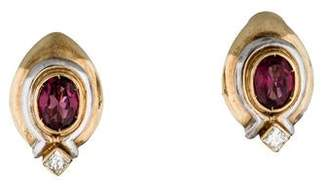 14K Two-Tone Garnet and Diamond Earclipse