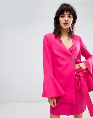 Rsum Resume Fenja Fluted Sleeve Neon Pink Blazer