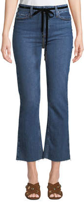 Paige Colette Crop Flare-Leg Belted Jeans with Raw Hem