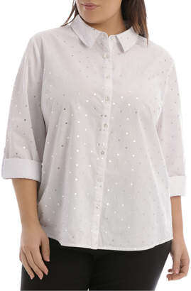 Must Have Cotton Shirt - White and Silver Foil Spot