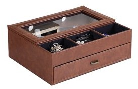 """Ore International 12"""" in BROWN LEATHER TEMPERED GLASS MEN VALET BOX"""