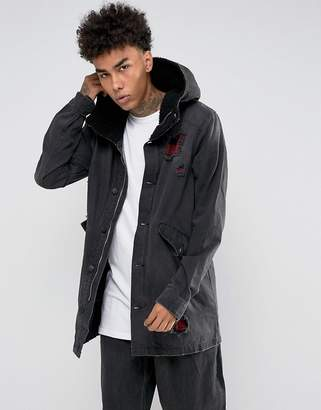 Cayler & Sons Denim Parka In Black With Distressing