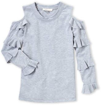 Baby Sara Girls 4-6x) Grey Cold Shoulder Ruffle Top