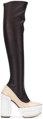 Marni colourblock long platform boots
