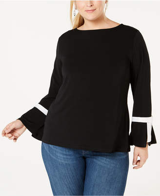 Charter Club Plus Size Tie-Sleeve Top