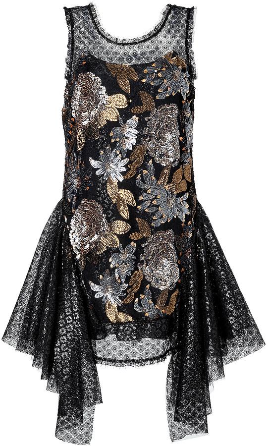 Anna Sui Nuits Dress in Black Multi