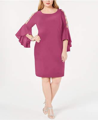 4c571ca1196 MSK Plus Size Embellished Bell-Sleeve Dress