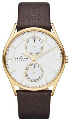 Skagen 'Holst' Multifunction Leather Strap Watch, 40mm