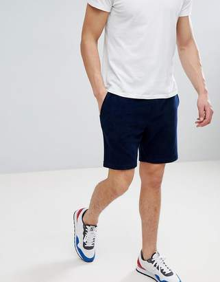 Tommy Hilfiger towelling sweat shorts with icon stripe & flag logo detail in navy
