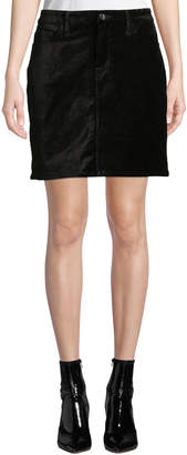7 For All Mankind Jen7 By Stretch Velvet Straight Mini Skirt