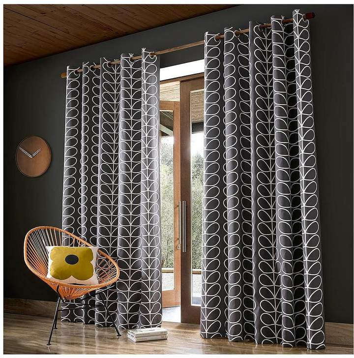 Linear Stem Lined Eyelet Curtains