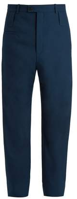 Balenciaga High Rise Wool Blend Trousers - Mens - Navy