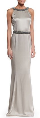 St. John Collection Beaded Liquid Crepe Gown, Medium Silver $2,295 thestylecure.com