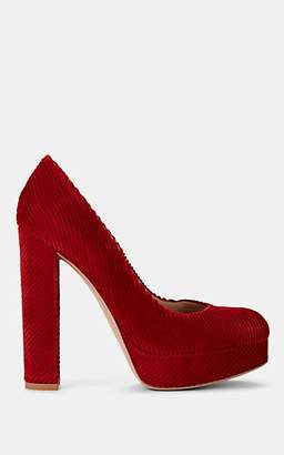 Gianvito Rossi Women's Paulina Corduroy Platform Pumps - Red