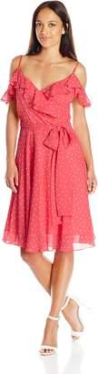 Tahari by Arthur S. Levine Women's Pettite Off Shoulder Polka Dot Dress