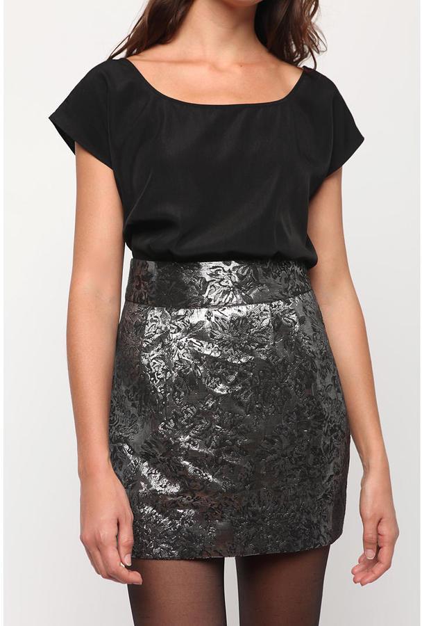 Kimchi Blue Metallic Jacquard Mini Skirt