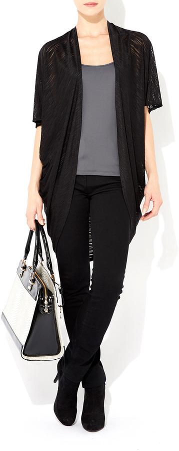 Wallis Black Long Textured Shrug