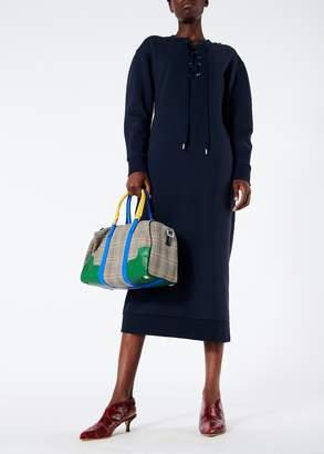 Tibi Sweatshirt Tie Neck Midi Dress