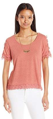 My Michelle Junior's Short Sleeve Tee with Crochet Details and Necklace