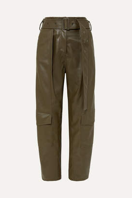 Low Classic Belted Faux Leather Tapered Pants - Army green