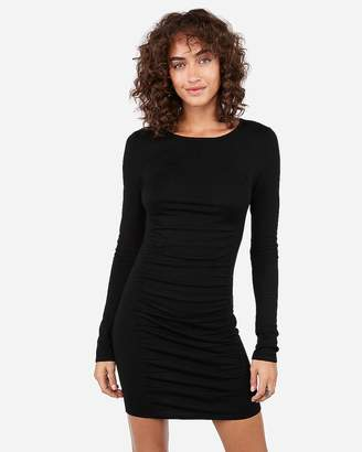 Express Ruched Long Sleeve Sweater Dress