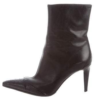 Sergio Rossi Ostrich Leg-Trimmed Leather Ankle Boots